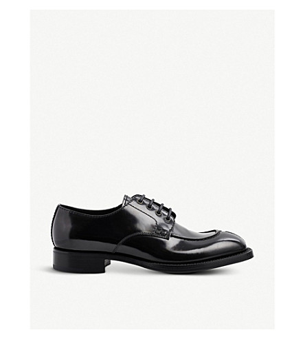 PRADA Brushed leather Derby shoes (Nero