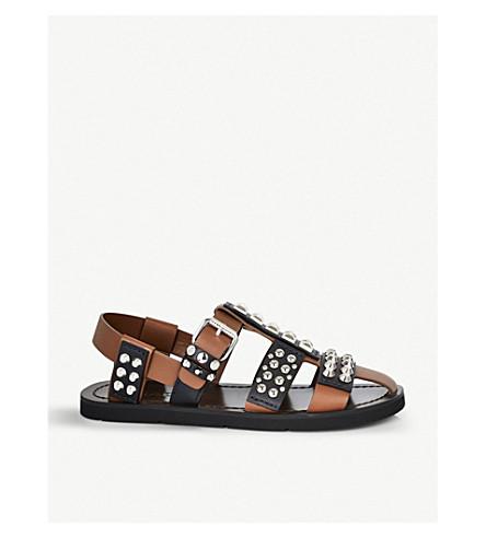 PRADA Fisherman studded leather sandals (Nocciola nero