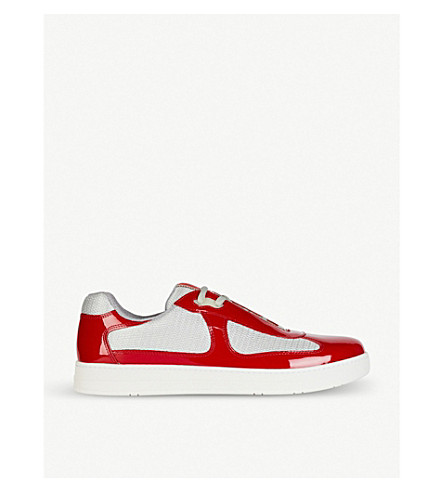PRADA Patent-leather and mesh trainers (Rosso+argento