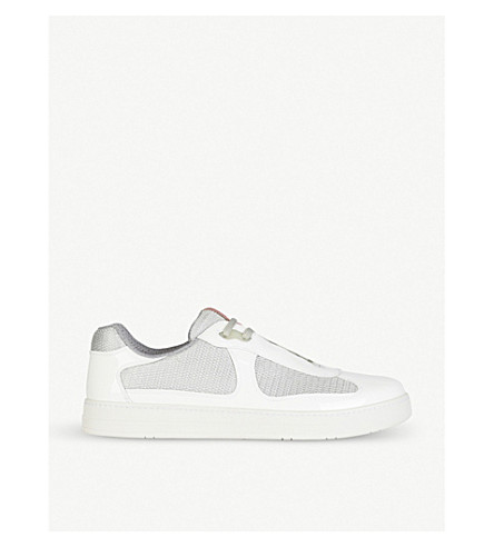 PRADA Leather and mesh trainers (Bianco+argento