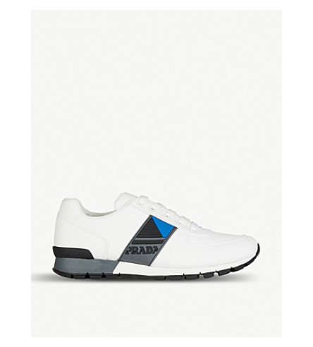 PRADA Logo-detail leather trainers (Bianco