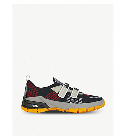 PRADA Crossection leather and mesh trainers (Nero