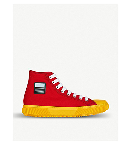 PRADA Logo-detail canvas high-top trainers (Rosso+gold