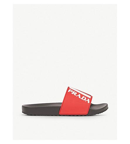 PRADA Logo rubber sliders (Rosso