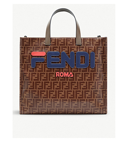 FENDI Logo-print fabric and leather bag (Multicolor