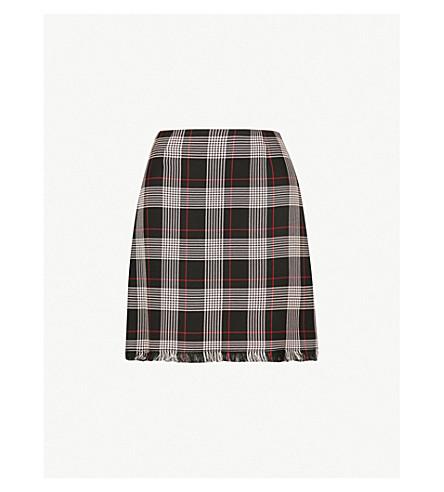 PINKO Silvio checked woven mini skirt (Nero+rosso+bianco