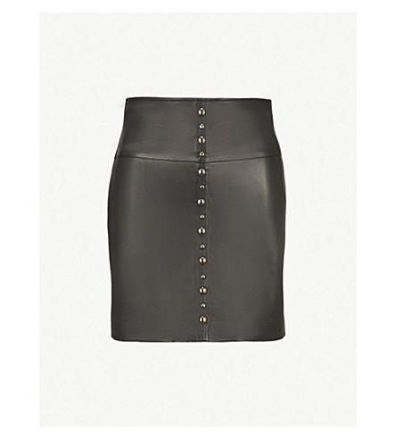 PINKO Simone leather mini skirt (Nero limousine