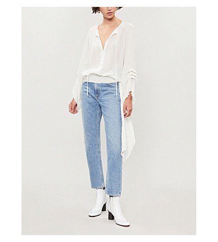 PINKO Velina self-tie silk blouse (Bianco+biancaneve