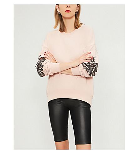 PINKO Valigia embellished cotton-jersey sweatshirt (Bruma+di+rosa