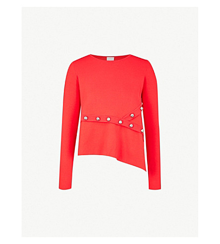 PINKO Geranio stud-embellished knitted jumper (Rosso+jolly