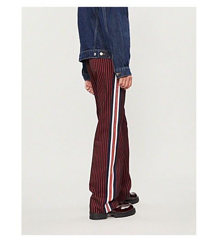 PINKO Telefono striped wide-leg wool-twill trousers (Mult+blu+rosso