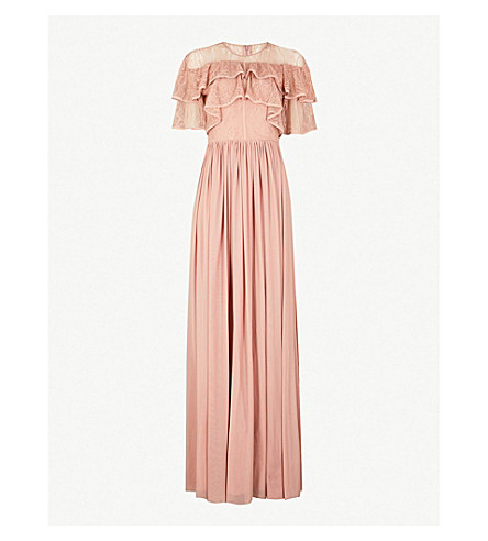 FOREVER UNIQUE Lace ruffle maxi dress (Pink