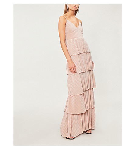 FOREVER UNIQUE Tiered metallic-knit dress (Pink