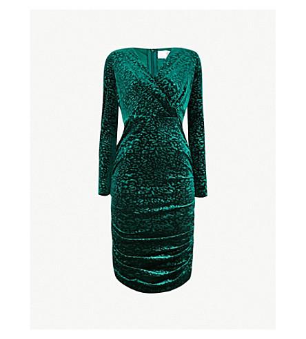 FOREVER UNIQUE Animal-print ruched velvet dress (Green