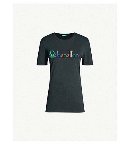 Logo Cotton Shirt Benetton T Jersey Unisex Embroidered OX08Pknw