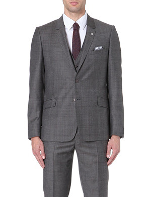 TED BAKER Wool checked wool suit jacket