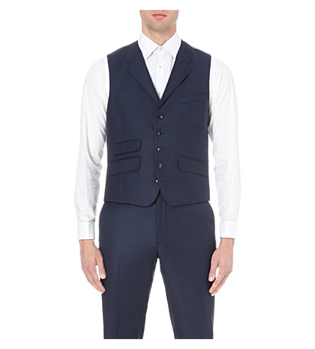TED BAKER Sterling birdseye wool vest (Blue