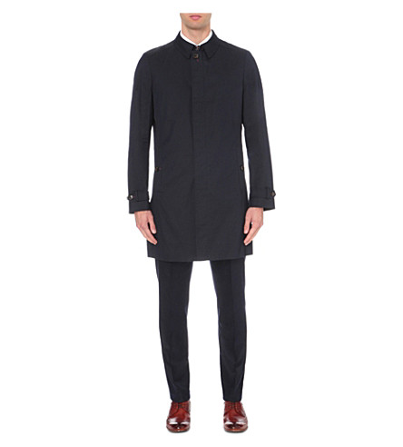 TED BAKER Concealed-placket shell mac (Navy