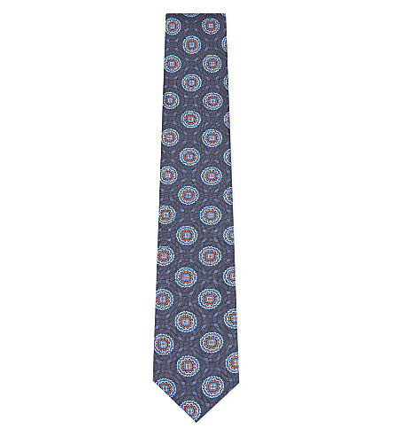 TED BAKER Circle pattern jacquard mulberry silk tie (Blue