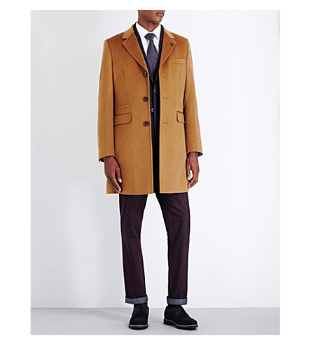 TED BAKER Endurance wool and cashmere-blend overcoat (Camel