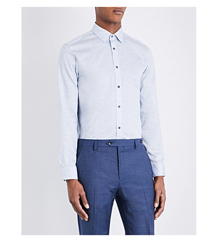TED BAKER Inverny modern-fit cotton shirt (Blue