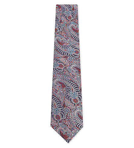 TED BAKER Switzer paisley mulberry silk tie (Red