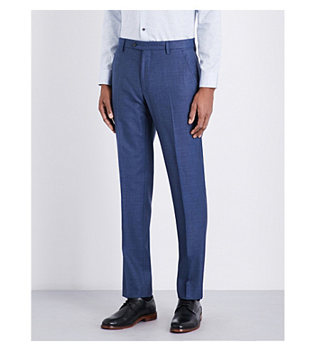 TED BAKER Cheeat Debonair modern-fit tapered wool trousers (Blue