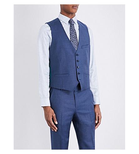 TED BAKER Cheeaw Debonair modern-fit wool waistcoat (Blue