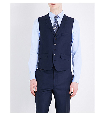 TED BAKER Tamlaw single-breasted wool waistcoat (Blue