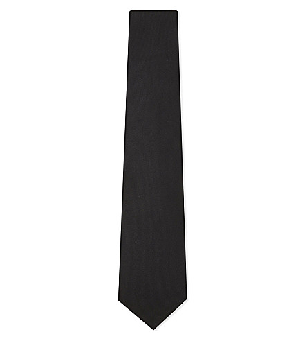 TED BAKER Solid mulberry silk tie (Black