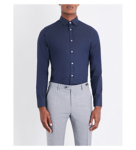 TED BAKER Spotted modern-fit cotton shirt (Navy