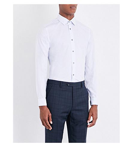 TED BAKER 提花花型现代合身棉衬衫 (蓝色