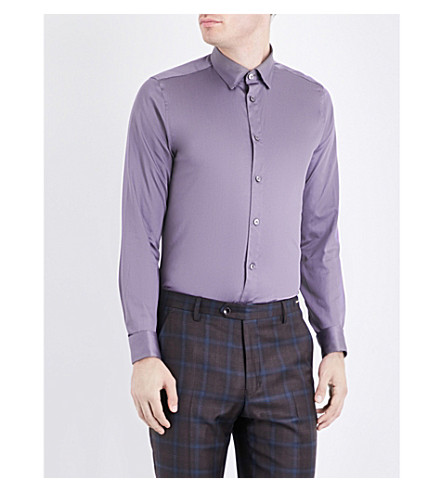 TED BAKER Modern-fit cotton shirt (Grey