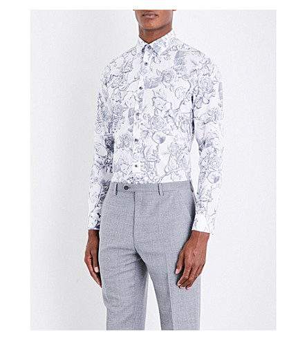TED BAKER Nayboz floral-print cotton shirt (White