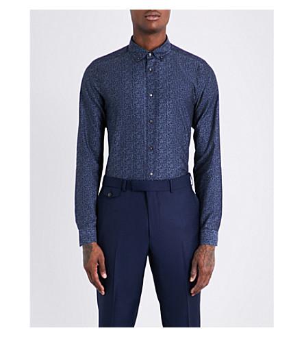 TED BAKER Shiprek floral-patterned modern-fit cotton shirt (Blue