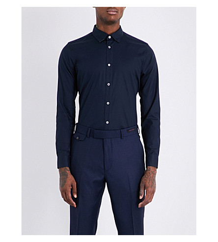 TED BAKER Towey modern-fit stretch-cotton shirt (Navy