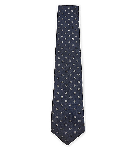 TED BAKER Polka dot silk tie (Navy