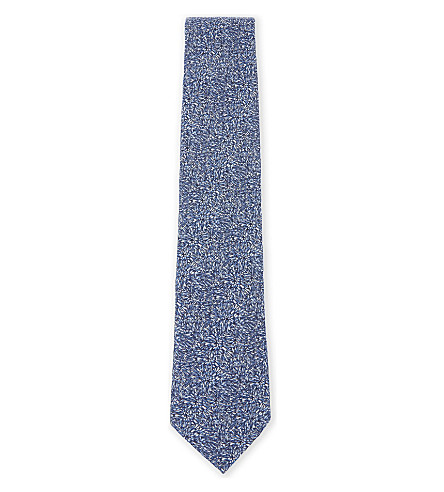TED BAKER Oxley floral silk tie (Blue