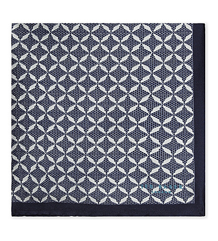 TED BAKER Geometric silk pocket square (Navy