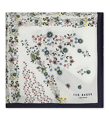 TED BAKER Union Jack floral silk pocket square (White