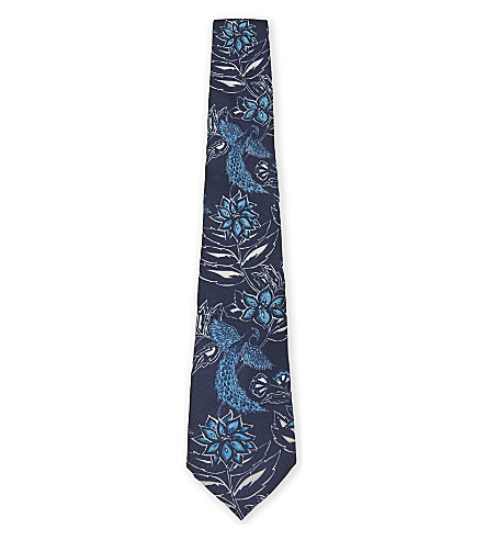 TED BAKER Floral silk tie (Navy