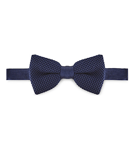 TED BAKER Lombow knitted bowtie (Navy