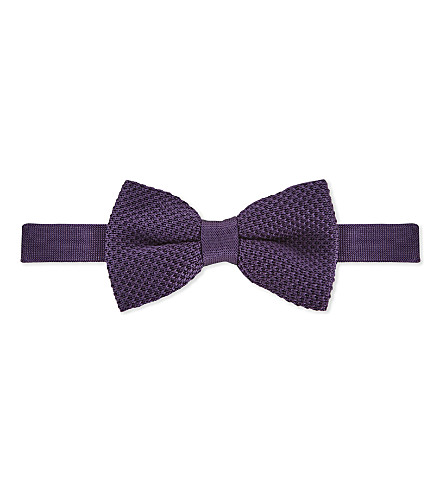 TED BAKER Lombow knitted bowtie (Purple