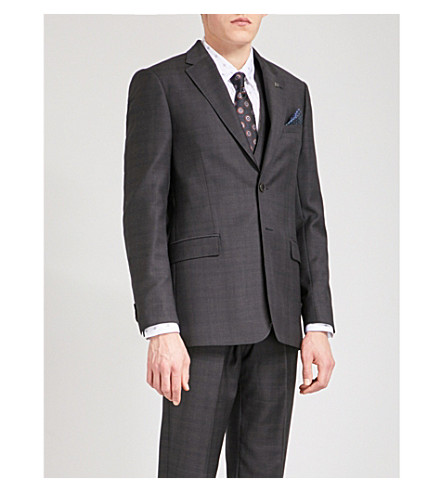 TED BAKER Concorj modern-fit checked wool jacket (Purple