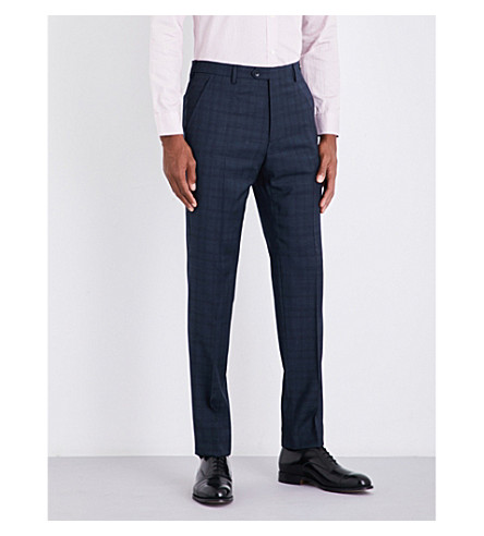 TED BAKER Blinkit modern-fit checked wool trousers (Teal