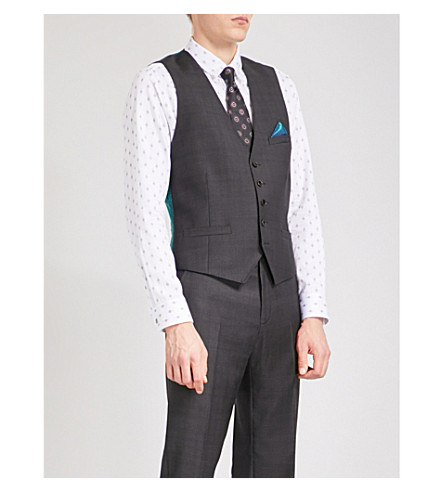 TED BAKER Checked and geometric-print wool waistcoat (Purple