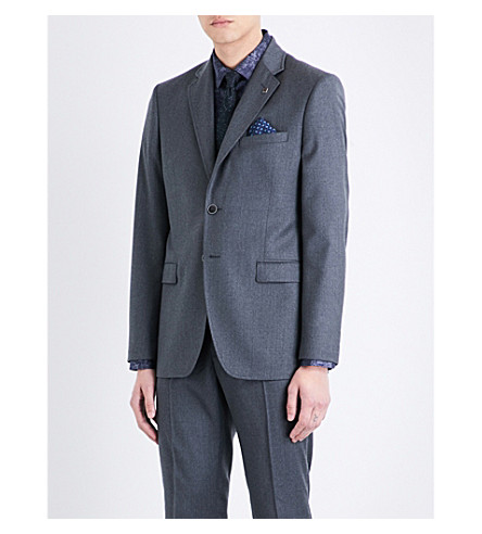 TED BAKER Debonair modern-fit wool jacket (Grey