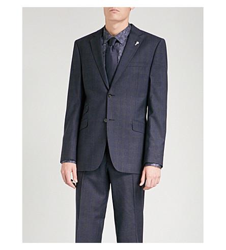 TED BAKER Sterling checked regular-fit wool jacket (Blue