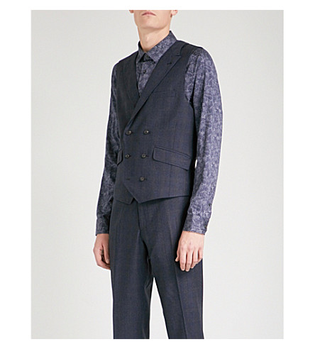 TED BAKER Sterling checked regular-fit wool waistcoat (Blue
