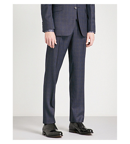 TED BAKER Sterling checked regular-fit wool trousers (Blue